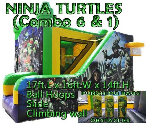 Ninja Turtles 6-in-1 combo slider, bouncer, inflatable is available for rental in Jeffersonville, New Albany, Clarksville Indiana & Louisville KY.