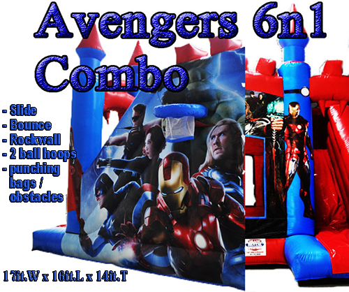 Avengers 6-in-1 Combo Bounce House for Rental in Louisville, Ky, Salem,  Bedford, Columbus, Indianapolis and all of Southern Indiana.