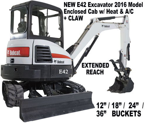E42 Excavator Loader is top of the line in its category!  Call Today and reserve the Excavator today!
