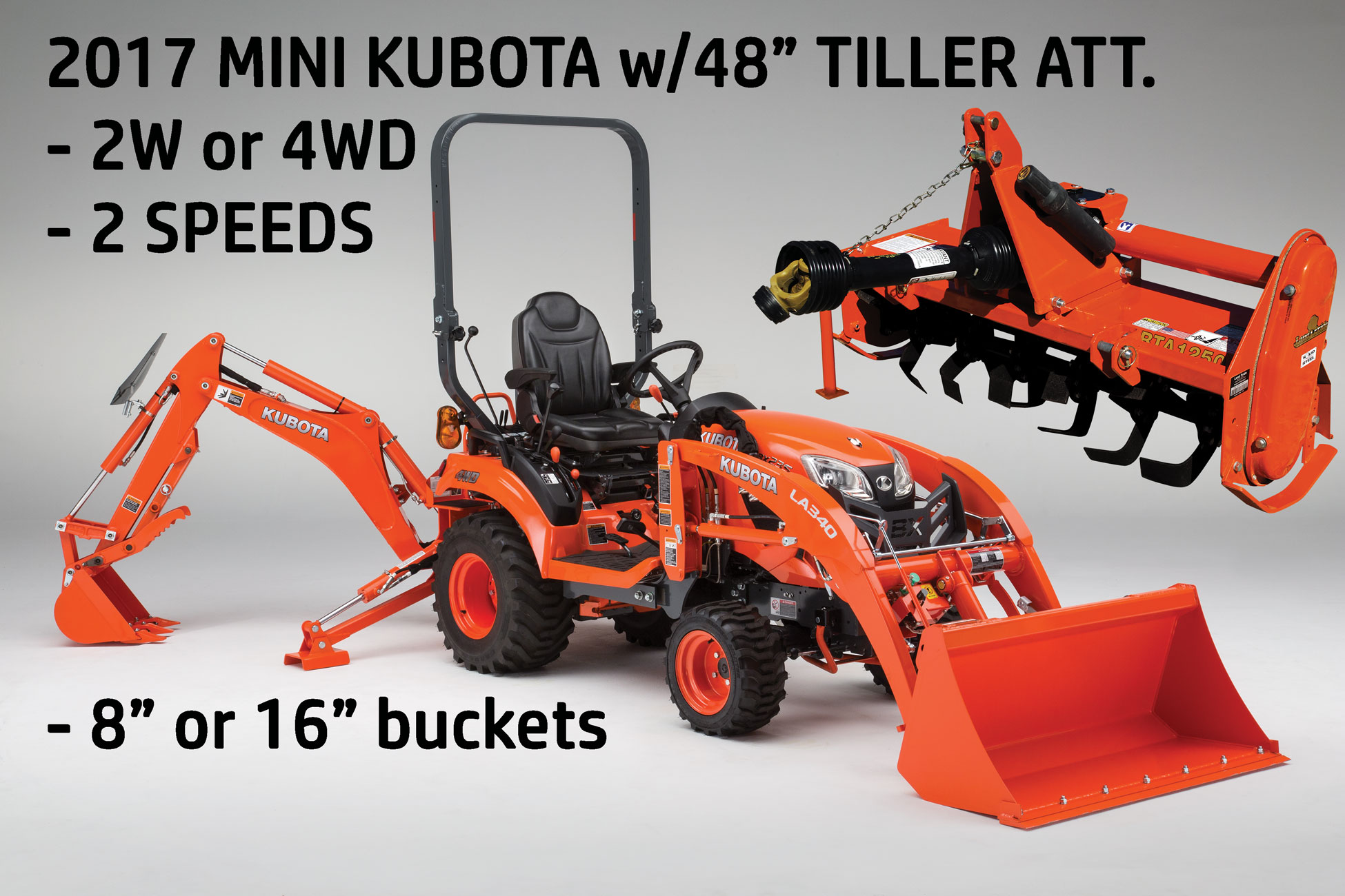 Kubota Mini Backhoe w tiller attachment