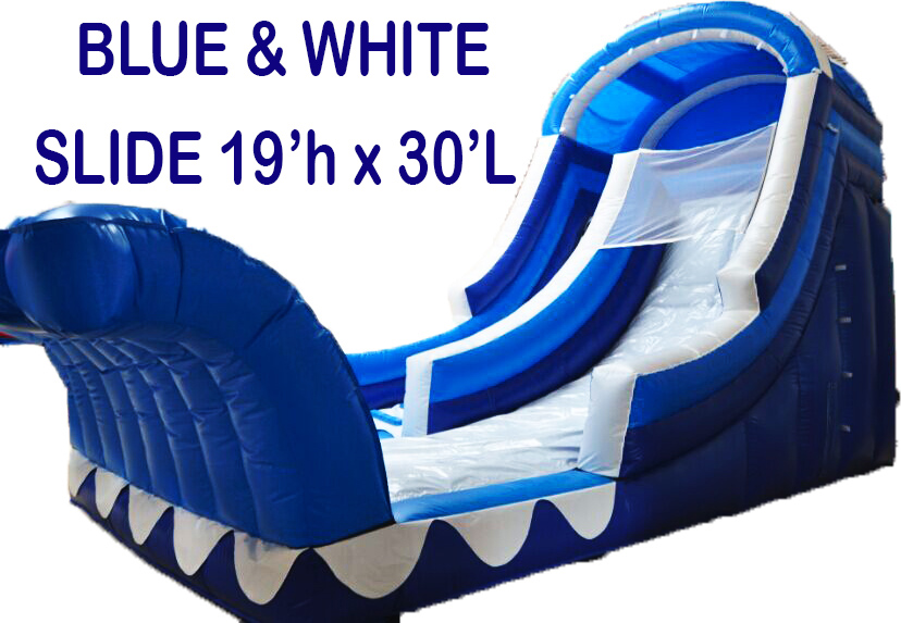 19' Blue & White Water Slide with Rock Wall