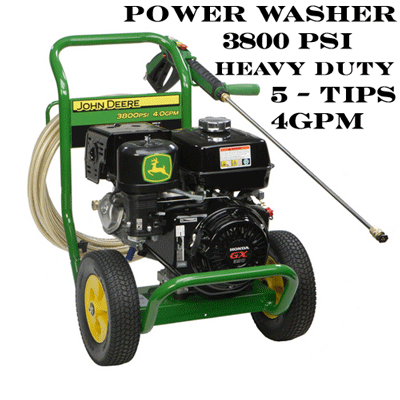 We have rentals for power washers 3800psi commercial grade with 5 different tips for any size job!