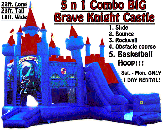 Brave Knight Castle 5-in-1 combos and bounce houses and inflatables and moonwalks are popular rental items.