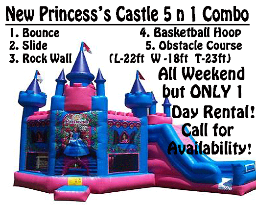 Rent a Princess Castle 5-in-1 bounce house, inflatable or moonwalk in Southern Indiana.?