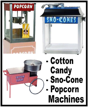 Cotton candy, snow cone and popcorn machines are great for little or big parties for Kids of every age!