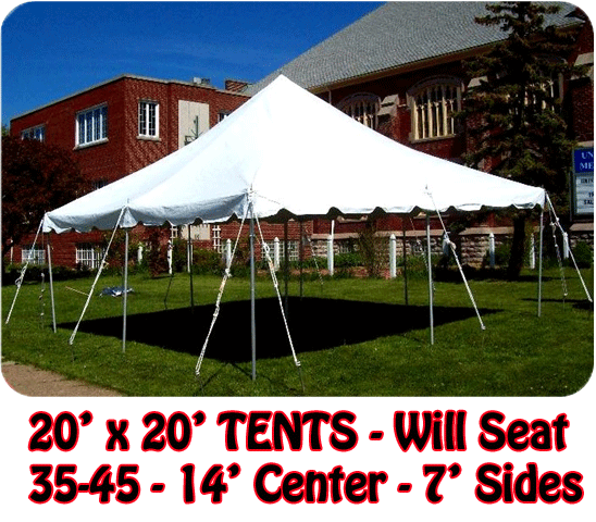 We have 10' x 20' canopy tent or tents for those small parties to shade you from the sun or a little rain.