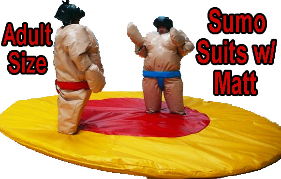 Sumo Wrestling Suits for Rental in Louisville, KY, Salem, Jeffersonville, Columbus, Seymour and All of Southern Indiana.